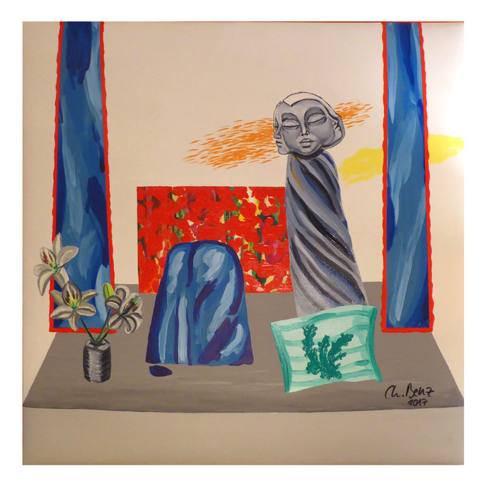 Dreifaltigkeit zu Besuch im Atelier, 2017. Öl auf gepolsterter Leinwand, 100x100 cm © Christian Benz