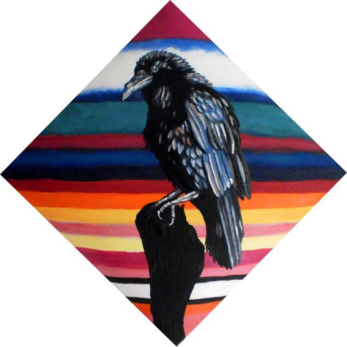 Edgar Allan Poe´s - THE RAVEN, 2010. Öl auf gepolsterter Leinwand, 30x30cm © Christian Benz