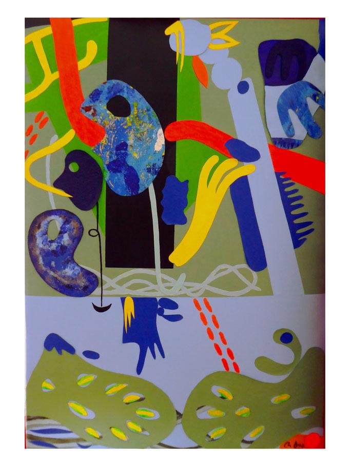 Masken-Collage aus Leinwandfragmenten, 2021. Acryl und Collage auf gepolsterter Leinwand, 70x100cm © Christian Benz