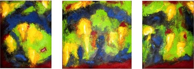 Vogelperspektive-2, 2005. Dreiteilig- Öl auf gepolsterter Leinwand, 40x40cm, 30x40cm © Christian Benz