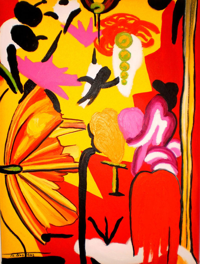 abstrakte Komposition, 2012. Öl auf gepolsterter Leinwand, 60x80cm © Christian Benz