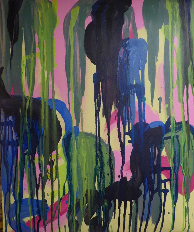 abstrakte Komposition, 2017. Acryl und Siebdrucktinte auf gepolsterter Leinwand, 50x60cm © Christian Benz