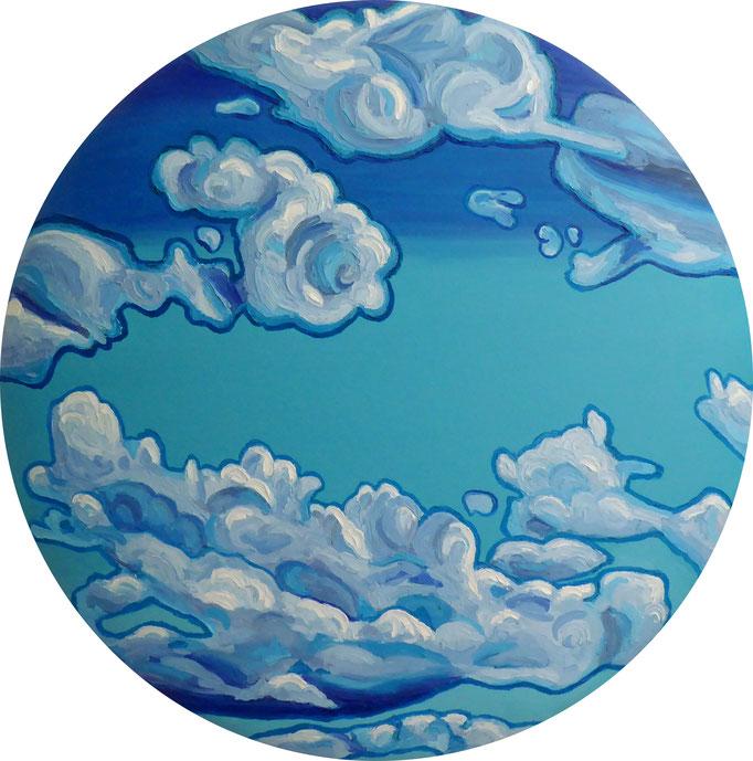 Friesische Wolken, 2014. Öl auf gepolstertem Leinwandtondo, 80cm © Christian Benz