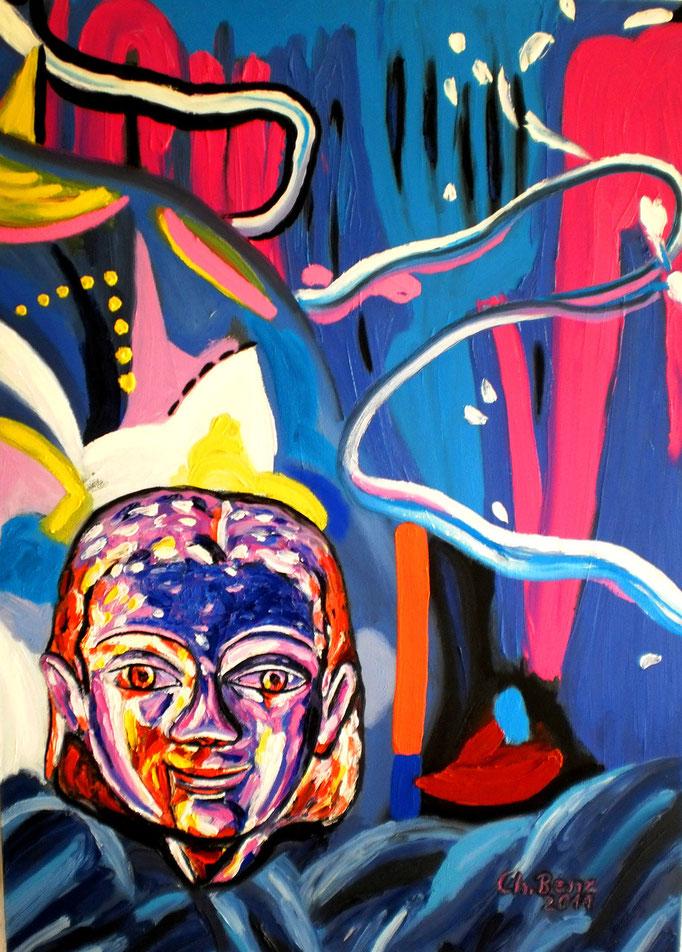 Kouros vor abstraktem Hintergrund, 2011. Öl auf Leinwand 70x100cm © Christian Benz