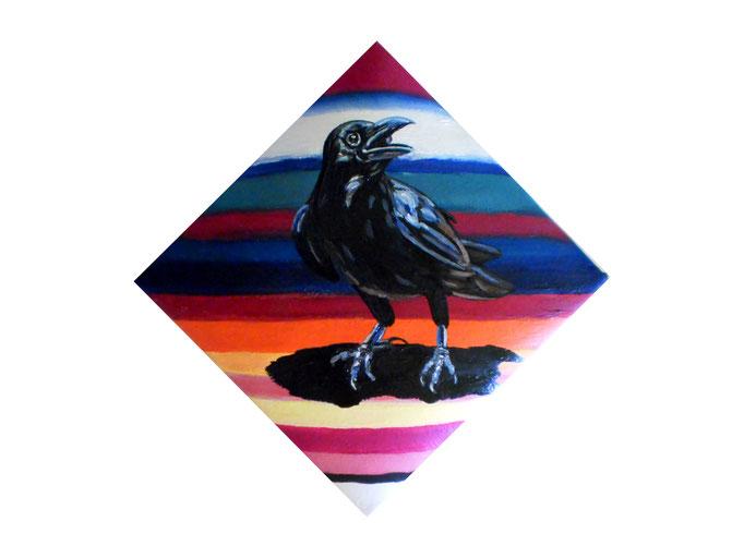 Edgar Allan Poe´s - THE RAVEN, 2010. Öl auf gepolsterter Leinwand, 20x20cm © Christian Benz
