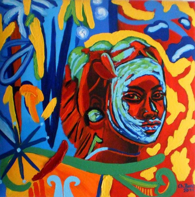 Junge Frau aus dem Omo-Tal, 2011. Öl auf gepolsterter Leinwand 40x40cm © Christian Benz