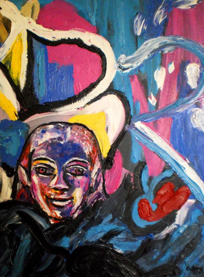 Ölstudie zu Kouros vor abstraktem Hintergrund, 2011. Öl auf Leinwand 30x40 © Christian Benz