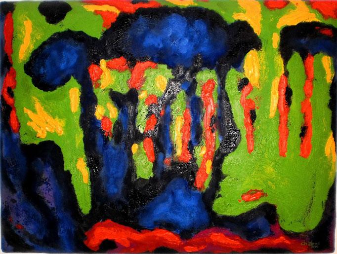 Vogelperspektive-1, 2005. Öl auf gepolsterter Leinwand, 60x80cm © Christian Benz