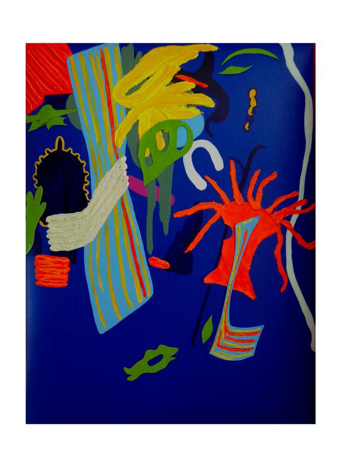 Karneval der Formen und Farben, 2021. Acryl und Collage auf gepolsterter Leinwand, 60x80cm © Christian Benz