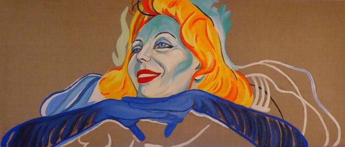Ute Lemper singt im Moulin Rouge, 2019. Öl auf Leinwand, 50x120cm  © Christian Benz