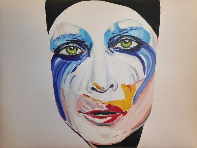 Lady Gaga-2 -überlebensgroß, 2014. Öl auf gepolsterter Leinwand, 30x40cm © Christian Benz