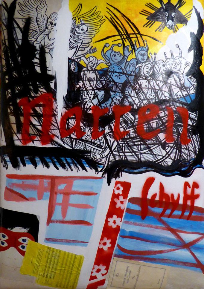 Narrenschiff, 2017. Mischtechnik und Collage auf gepolsterter Leinwand, 70x100cm © Christian Benz