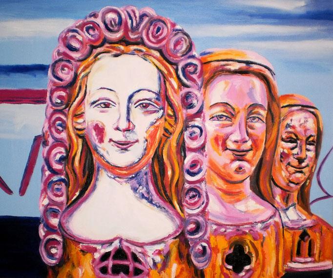 Ursula und ihre Begleiterinnen, 2016. Öl auf Leinwand 50x60cm © Christian Benz