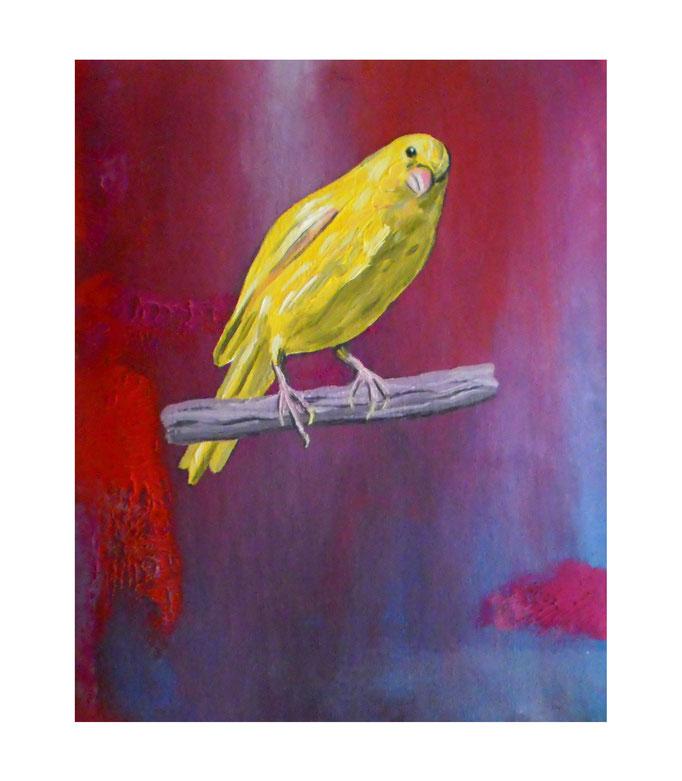 Variation auf Kippenbergers Birds, 2010. Öl auf gepolsterter Leinwand, 20x30cm © Christian Benz