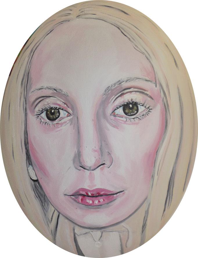 Lady Gaga-überlebensgroß, 2014. Öl auf gepolsterter ovaler Leinwand, 30x40cm © Christian Benz