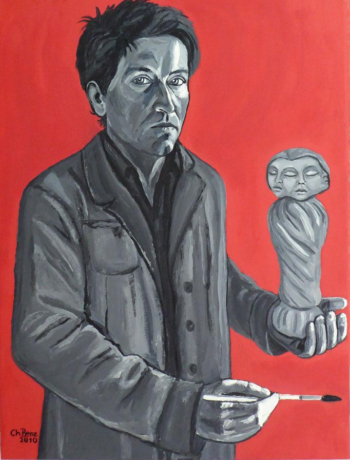Selbstbildnis mit Dreifaltigkeit, 2010. Öl auf Leinwand 60x80cm © Christian Benz