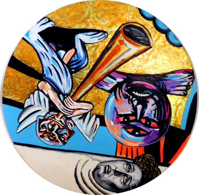 Visionen der heiligen Katharina von Siena, 2014. Acryl und Schlagmetall auf Leinwandtondo, 80cm © Christian Benz