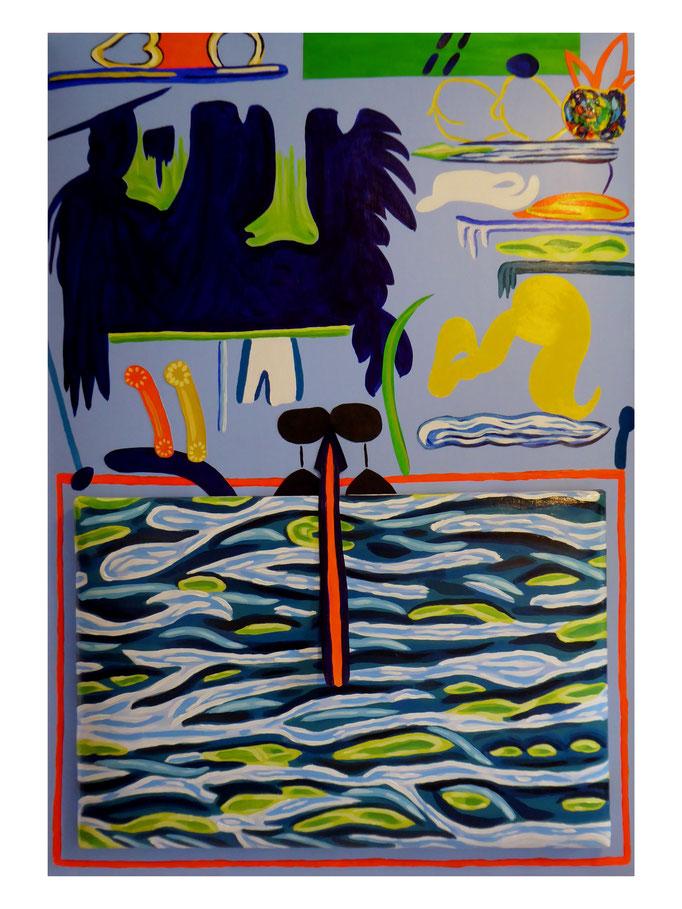 """Collage """"Rhein"""", 2021. Acryl, Siebdrucktinte und Öl auf zwei gepolsterten Leinwänden, 70x100 und 40x60 cm © Christian Benz"""