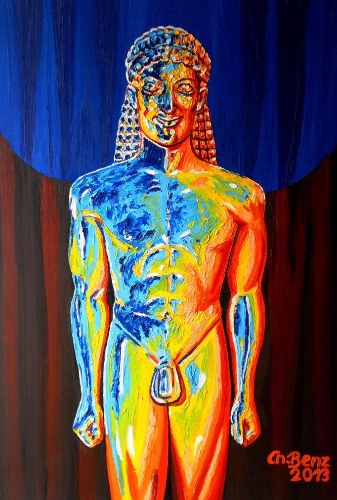 Kouros, 2013. Acryl und Schlagmetall auf Leinwand 70x100cm © Christian Benz