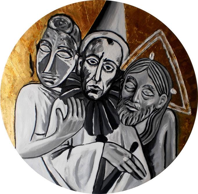 Dreifaltigkeit-5, 2014. Arcyl und Schlagmetall auf Leinwandtondo, 50 cm © Christian Benz