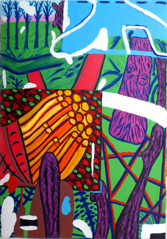 Hommage an Hockney, 2012. Öl auf gepolsterter Leinwand, 70x100cm © Christian Benz