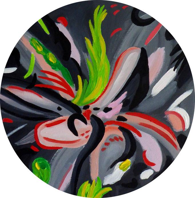 abstrakte Komposition, 2017. Öl auf Leinwandtondo, 30cm © Christian Benz