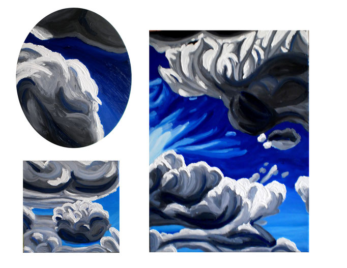 Britische Wolken, 2015. Dreiteilig-Öl auf Leinwand, 50x60cm, 30x30cm, 30x40cm © Christian Benz