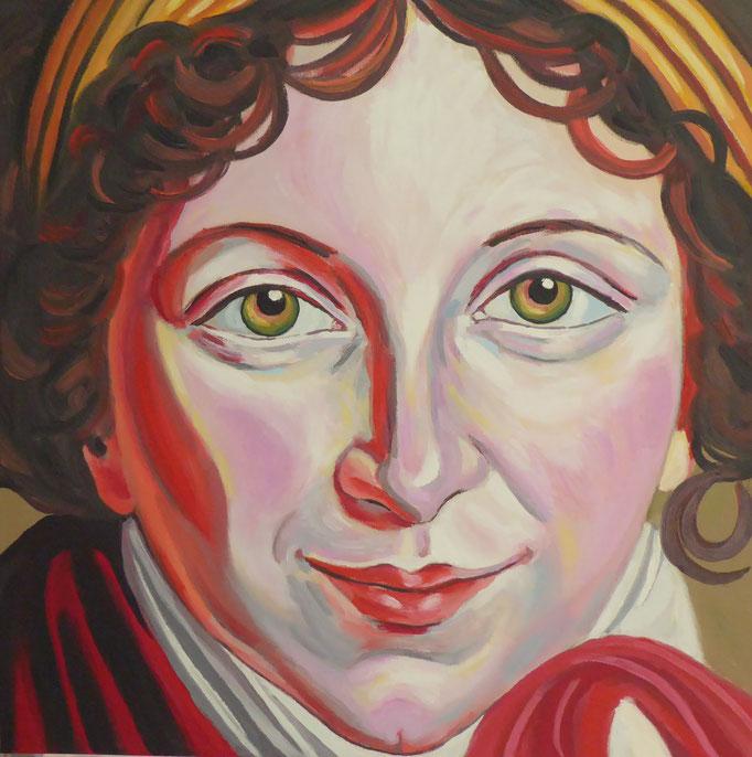 Das Lächeln der Elisabeth Vigée Lebrun - II , 2013. Öl auf Leinwand 50x50cm © Christian Benz