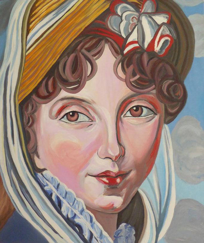 Das Lächeln der Elisabeth Vigée Lebrun - I, 2013. Öl auf Leinwand 50x50cm © Christian Benz