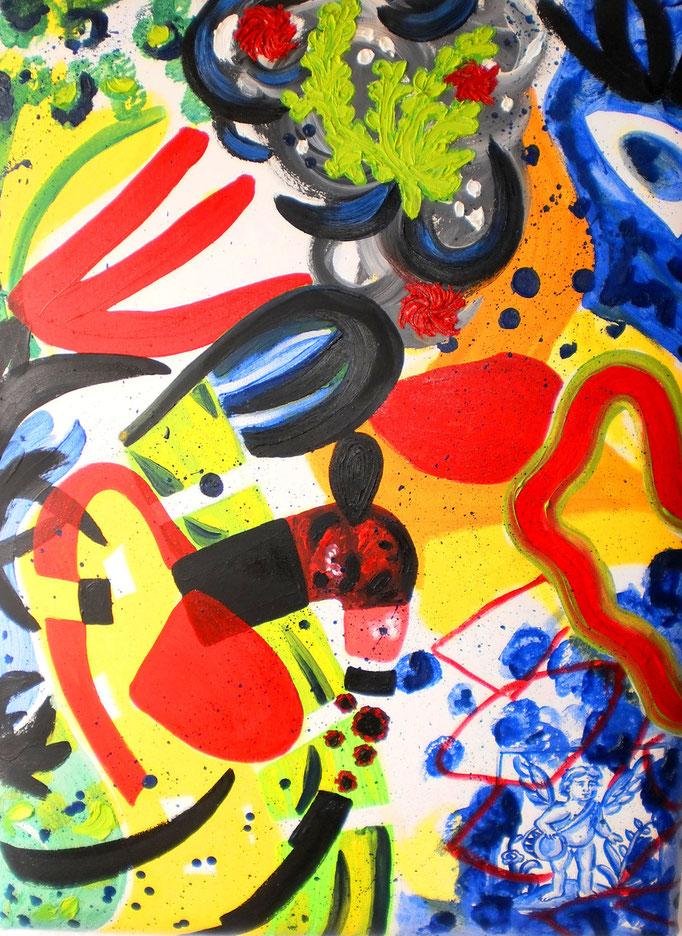La sacra conversazione, 2014. Öl auf gepolsterter Leinwand, 60x80cm © Christian Benz