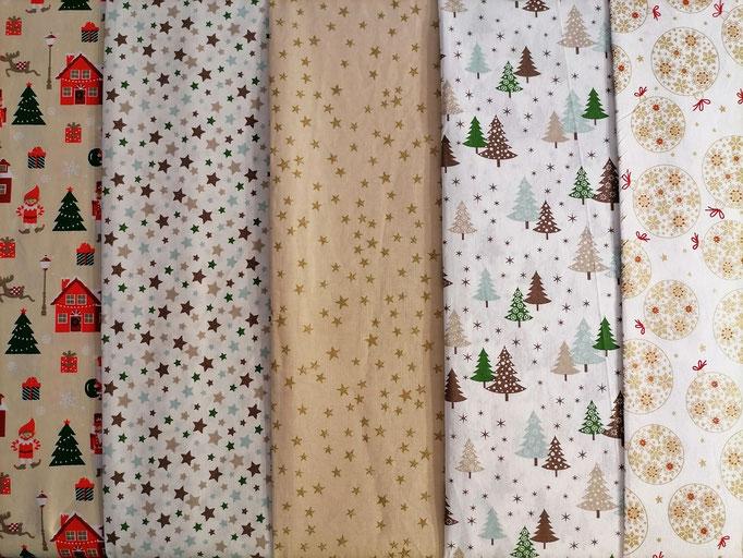 Motiv-Stoffe f. Gesichtsmasken (100% Baumwolle), Advent-u. Weihnachten