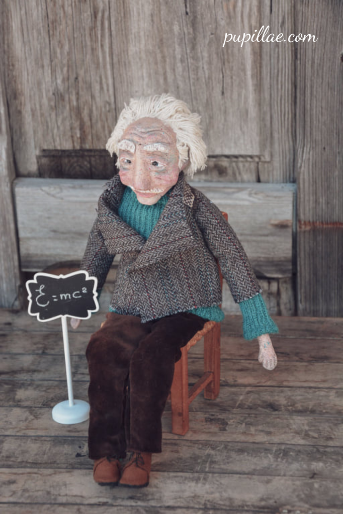 Wood clay doll inspired by the great genius