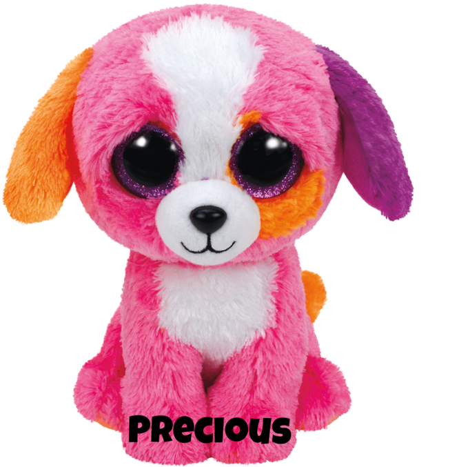 "Precious is op 19 augustus jarig. ""I am smart and happy and bright pink / The perfect pet for you, don't you think?"""