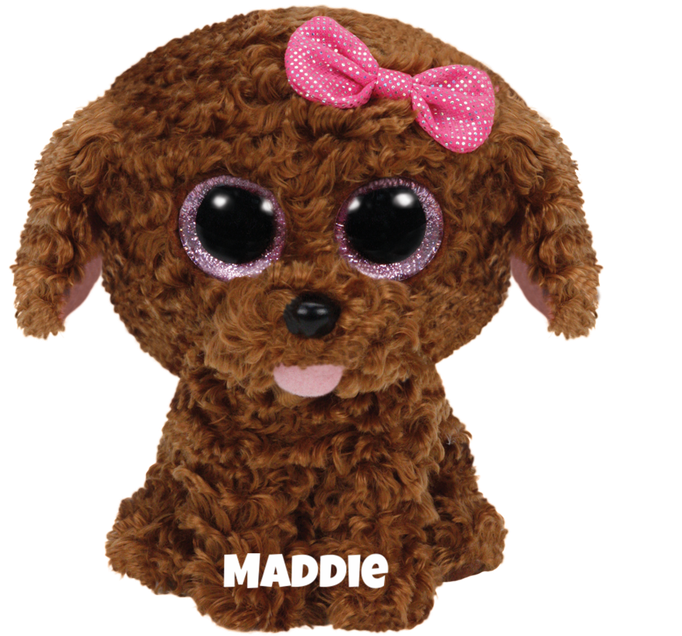 "Maddie is op 28 maart jarig. ""Everyone thinks that I am so cute / I prefer a dog treat instead of fruit!"""