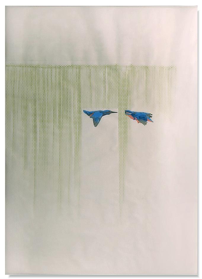 Flight-Flight_110cm x 150cm_varnisch,indian ink,pencil,resin transparent_on paper.