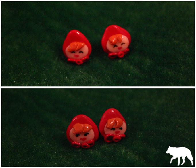 Orecchini Cappuccetto Rosso, disponibili in qualsiasi espressione - 6€