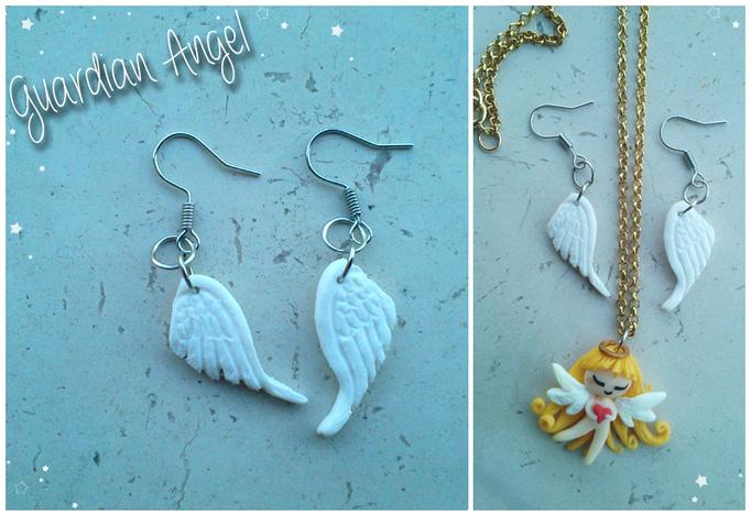 Orecchini 'Guardian Angel', collana in abbinato nella sezione 'Collane'; alti 2.5 cm e completamente modellati a mano. 6*
