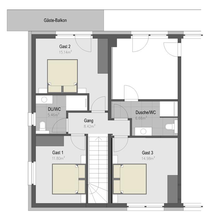 Obergeschoss - 3 Doppelzimmer, 2 Bäder