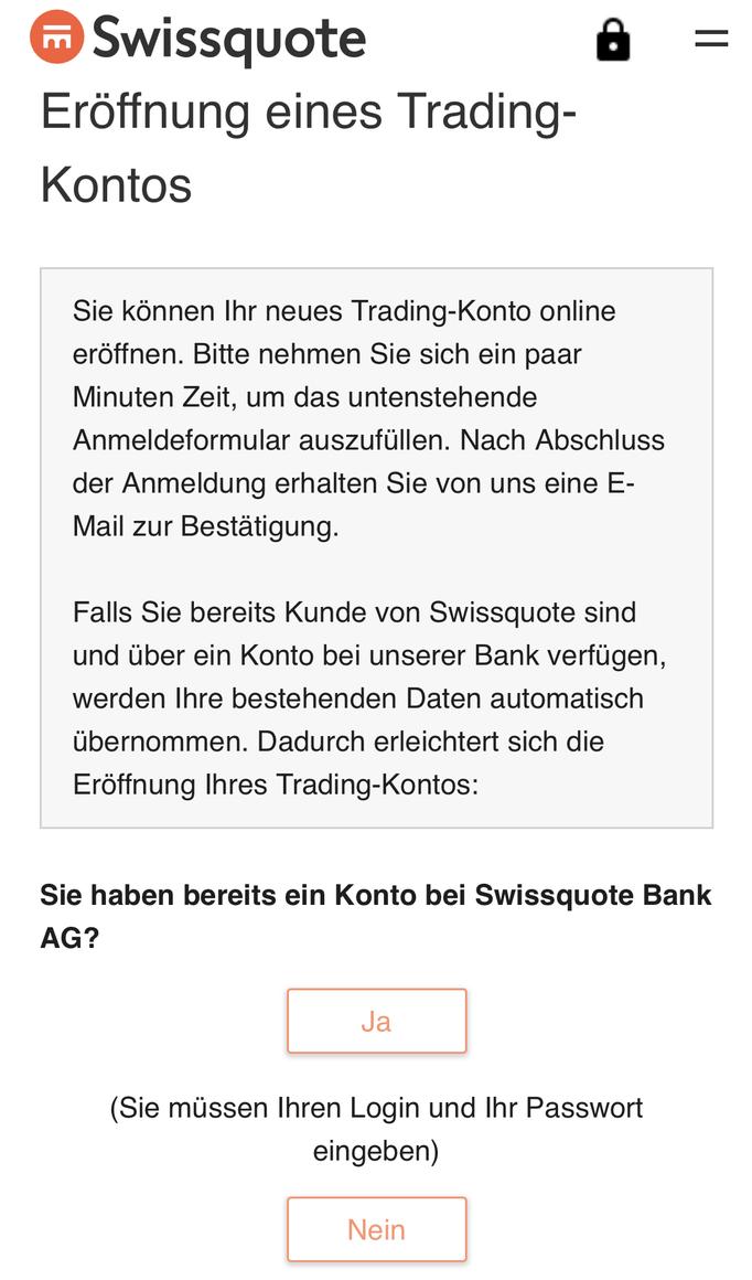 Swissquote im Webbrowser Kontoeröffnung