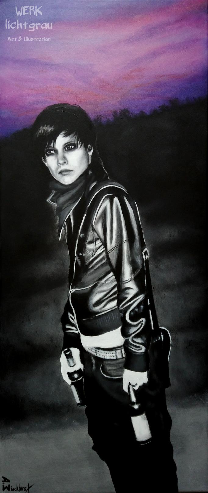 """""""feeling violet"""", Acryl auf Leinwand, 30 x 70 cm, 2018"""