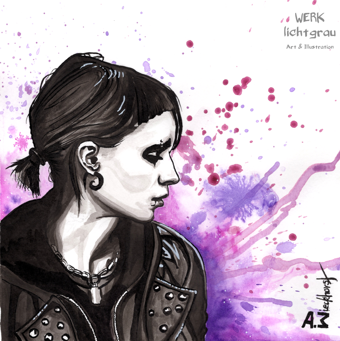 """the girl..."", Tinte, Acryl, Tuschestift, 19 x 19 cm"