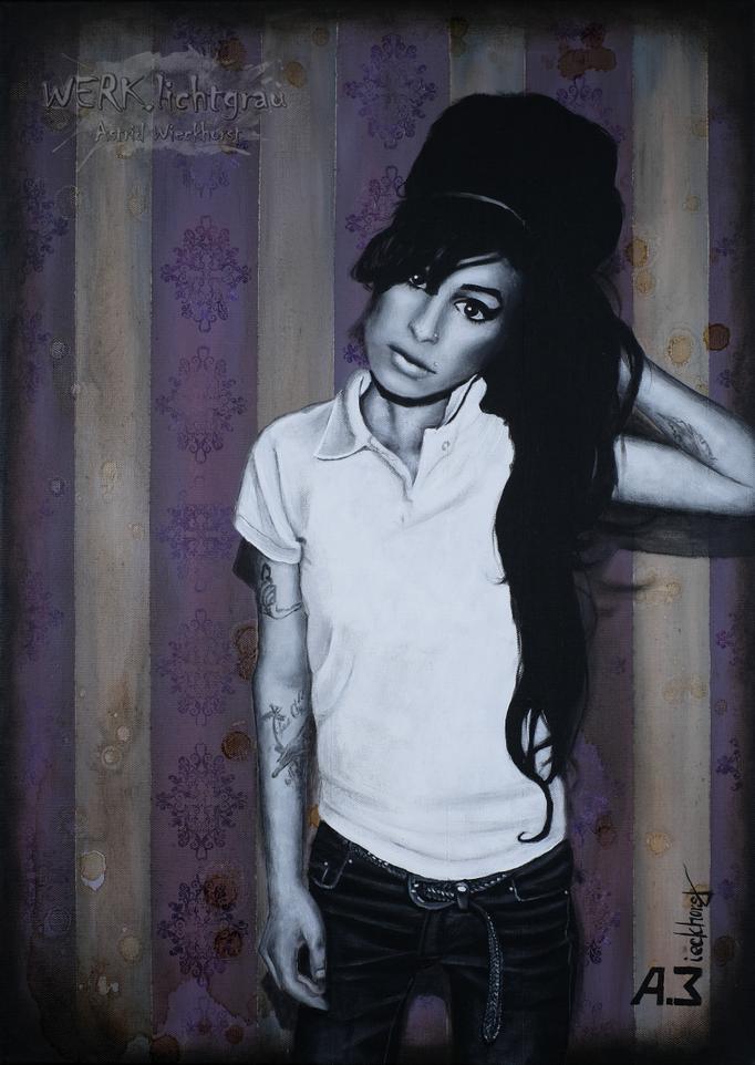 """back in black & white II"" , Acryl, Schellack auf Leinwand, 50 x 70 cm, 2016"