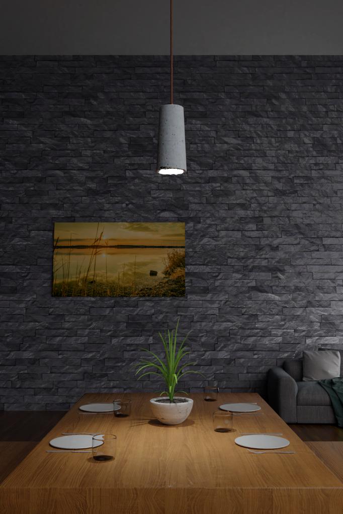 Betonlampen, Betonlampe, Lampenschirm aus Beton beleuchtet Tisch