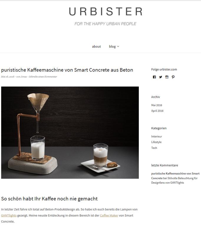 Coffee Maker aus Beton von urbister.com empfohlen