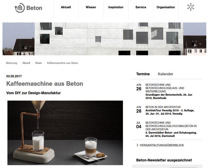 Coffee Maker aus Beton bei Beton.org