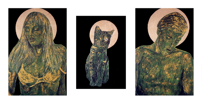 die Mutter - die Katze - der Sohn, Acrylic on Canvas, 60 x 40 cm - 50 x 34 cm - 60 x 40 cm