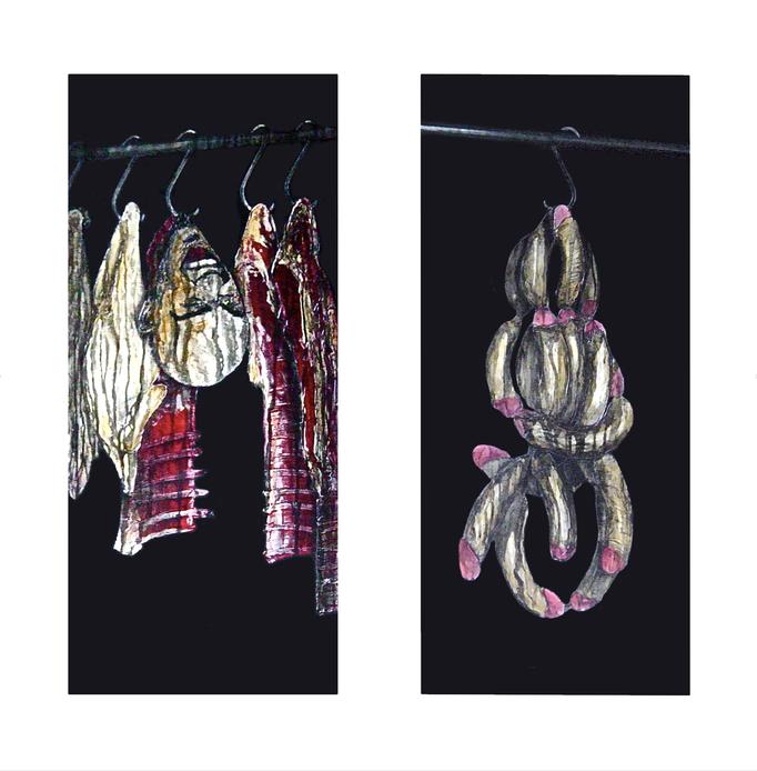 Verlockungen I-II, 1995, Acrylic on Canvas, 100 x 40 cm