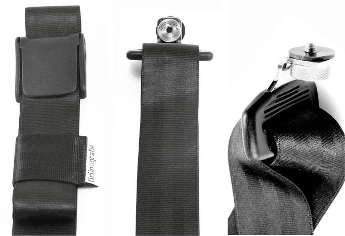 Die Schraube vom Gurt passt in jedes Stativgewinder einer beliebigen Kamera.