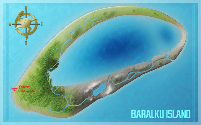 Island/world map. Aforementioned species originates and lives here.