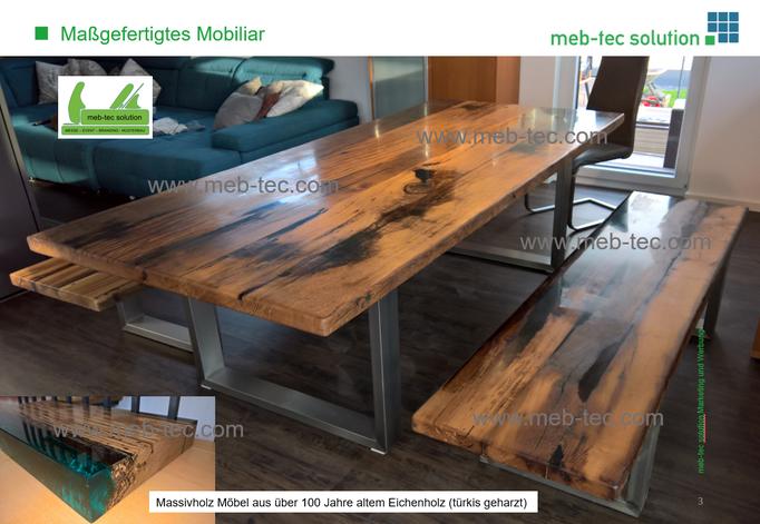 meb-tec.com Eiche Massivholzmoebel 1xEsstisch 2xSitz-Bänke Epoxidharz
